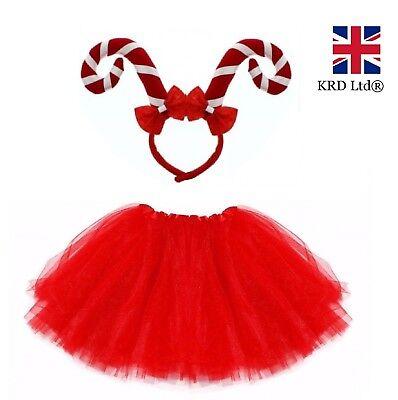 CANDY CANE TUTU COSTUME Kids Ladies Christmas Party Xmas Fancy Skirt Dress - Candy Dress Kostüm