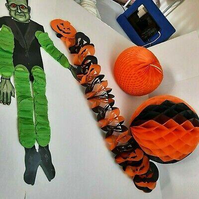 Vtg Halloween Black & Orange Honeycomb Paper Garland and Ball & Red EyedMonster