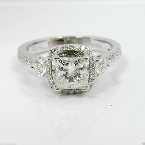1.72 cts Princess Cut Solitaire Diamond Engagement Ring Solid 14kt White Gold