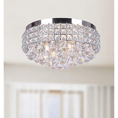 Crystal Flush Mount Chandelier Chrome Finish Ceiling 4 Light Fixture Silver -