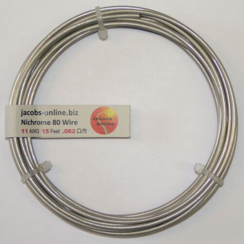 Nichrome 80 resistance wire, 11 AWG (gauge), 15 feet