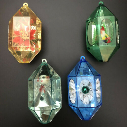 Vintage Jewel Brite By Decor Unbreakable Christmas Ornaments - Lot of 4