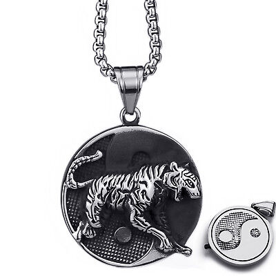 Men's Tiger Chinese Yin Yang Tai-Chi Stainless Steel Pendant Chain Necklace Set