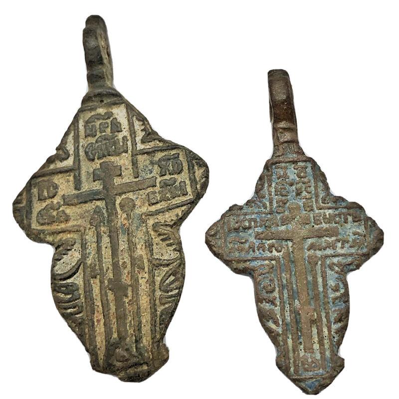 2 Medieval Byzantine Cross Pendants Russian Calvary Orthodox Church Artifact B