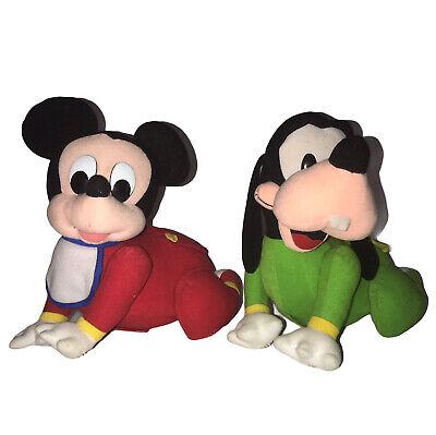 Baby Mickey Mouse Goofy Vintage Crawling Plush Disney Stuffed Toys Mattel PJ's