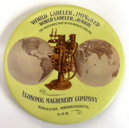 vintage EGONOMIC MACHINERY WORLD LABELER celluloid paperweight pocket mirror ^