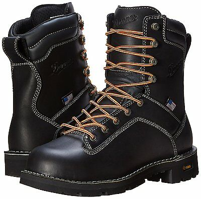 Danner Quarry 8 Inch Work Boots, Black, Steel & Soft Toe (17309, 17311) US Made Danner 8 Inch Boots
