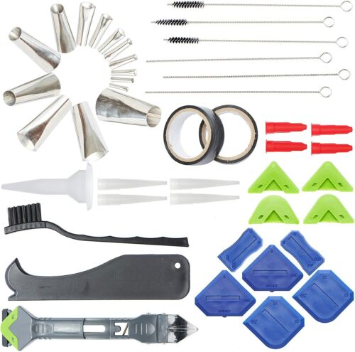 Caulking Nozzle Kit - Stainless Steel Caulking Gun Tips, Caulk Remover and more.