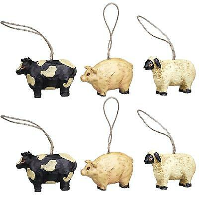Mini FARM ANIMAL Cow Pig Sheep Christmas Ornaments, Set of 6, by Country House