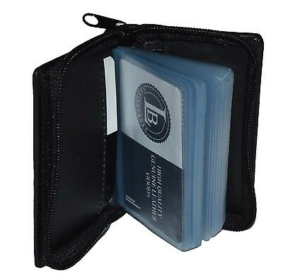 a08c1b8902f CREDIT CARD PICTURE HOLDER ALL AROUND ZIPPER BLACK 30 PAGES GENUINE LEATHER