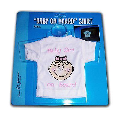"""Schild """"BABY GIRL ON BOARD"""" T-Shirt Baby an Bord Mädchen Mit Saugnapf weiß Auto"""