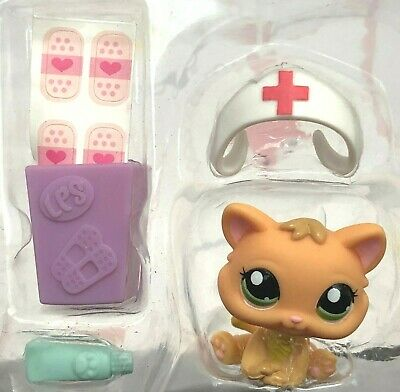 LITTLEST PET SHOP #1691 Orange Tan KITTEN Cat GREEN Eyes MALL Vet LPS OOP (Greene Mall)