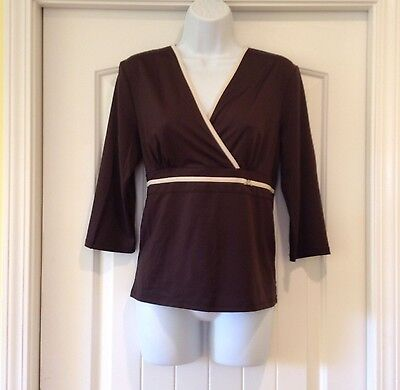Prima Bella Brown 3 4 Sleeve Crossover Bodice Band Bling Empire Waist Sz Med Top