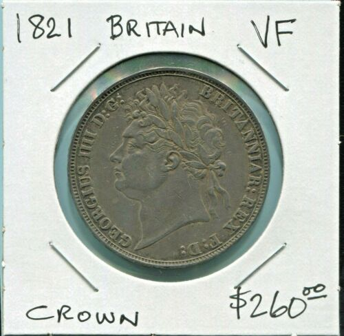 GREAT BRITAIN - BEAUTIFUL GEORGE IV SILVER CROWN, 1821, KM# 380.2
