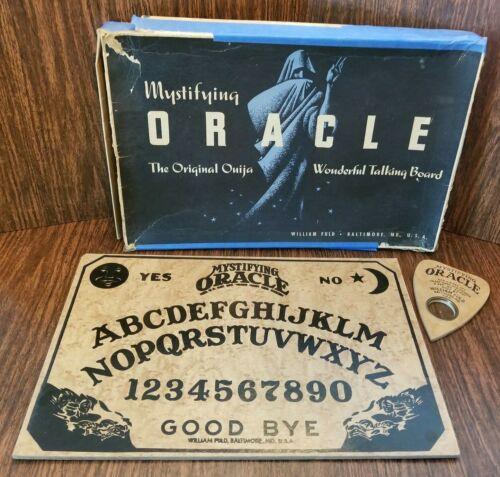 Vintage 1940s Mystifying Oracle Full Black Moon William Fuld Ouija with Box