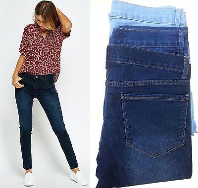 Women/Ladies Jeans Ex Zara med blue Mid rise cotton blend regular skinny jeans