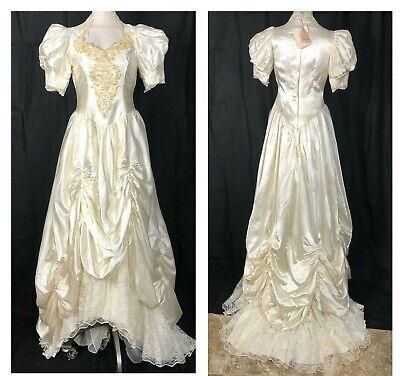 Vintage Wedding Dress 80s Long Train satin Lace applique Pearls French sz 8