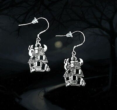 Scary Halloween Gifts (BUY 3 GET 1 FREE~SILVER HAUNTED HOUSE GHOST DANGLE EARRINGS~SCARY HALLOWEEN)