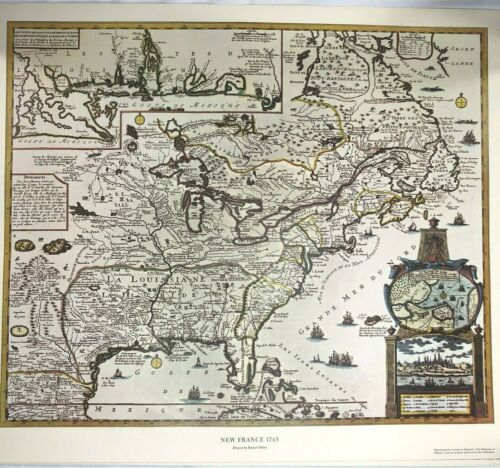 New France 1745 Map by Reiner Ottens America American Heritage Magazine 24x18