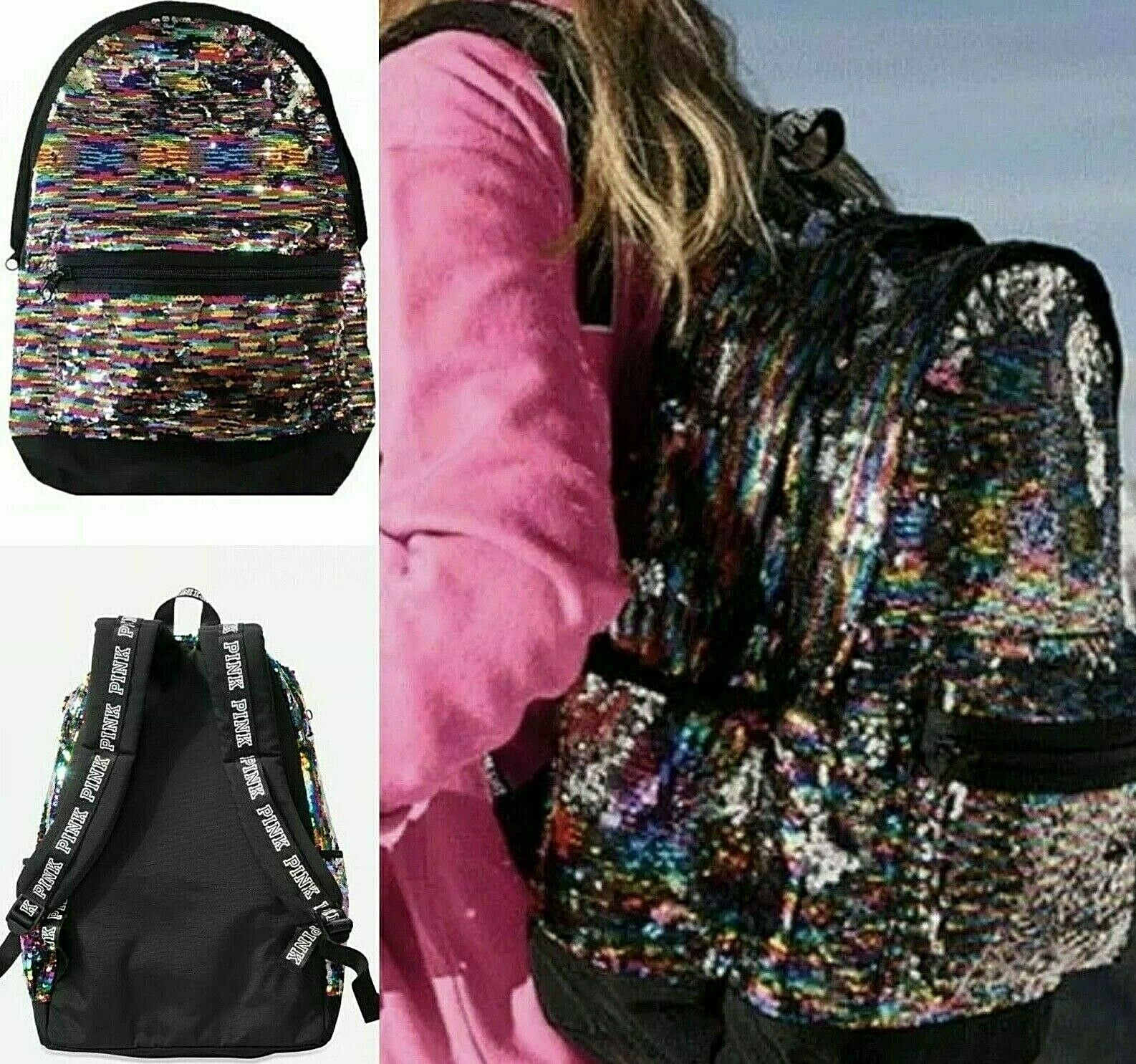 Victoria's Secret PINK Campus Backpack Sequin Bling Rainbow