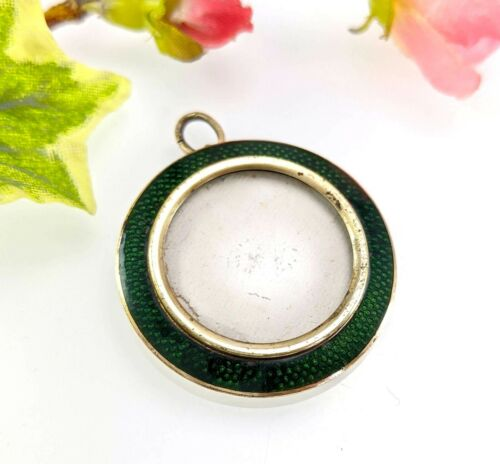Antique Victorian Green Guilloche Enamel Locket Pendant Cased Picture Frame