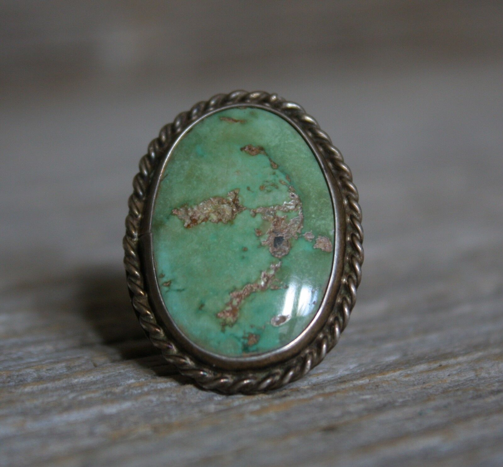 Large Old Pawn Vintage Native Navajo Turquoise Sterling Silver Ring sz 95