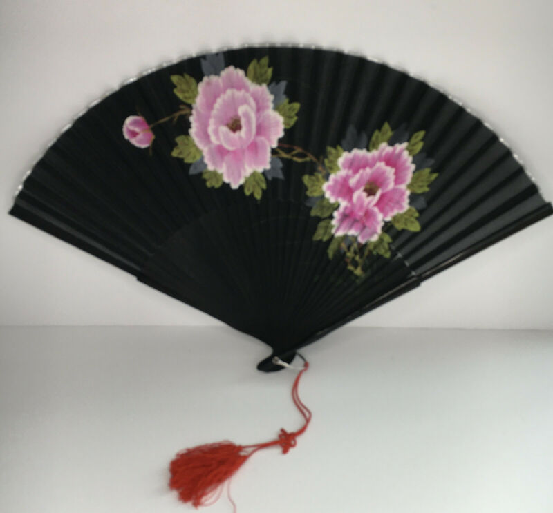 Vintage Japanese Hand-Painted Silk Fan - Excellent in Original Box