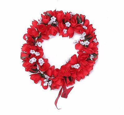 Hawaiian Lei Party Luau Headband Haku Elastic Flower Tuberose Red Solid