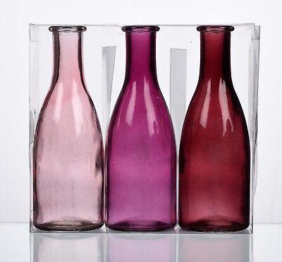 """GLAS VASE  """"BOTTLE groß"""" 3 Flaschen Vasen 18,5 x 6,5 cm. Fuchsia ROSA 1165-18-11"""