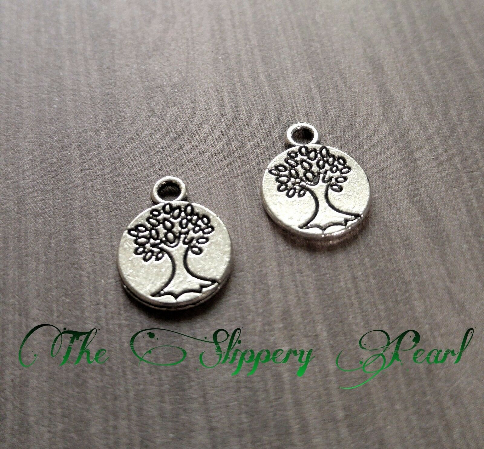 BULK 40 Tree of Life Charms Antique Silver Tone 2 Sided Family Tree SC369