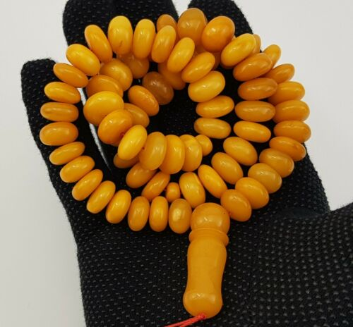 Islamic Prayer Tasbih Stone Amber Natural Baltic White Vintage Bead 58,1g R-619