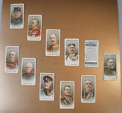 World War I Allied Army Leaders Issued 1917 By Willss Cigarette Cards 11 Of 50