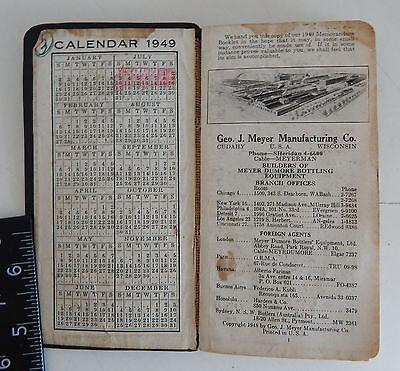 1949 Meyer Mfg. Bottling Mach. Spec. Book w/ handwritten notes/sketches, mag ads