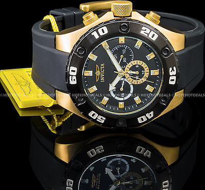Invicta Specialty MultiFunction Swiss Quartz 18K Gold Plated S.S Black PU Watch