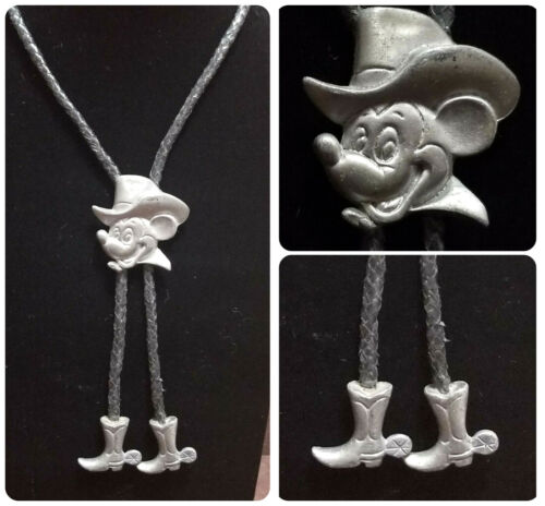VINTAGE 80s DISNEY COWBOY MICKEY MOUSE Bolo Tie Boots Western Wear PEWTER RARE