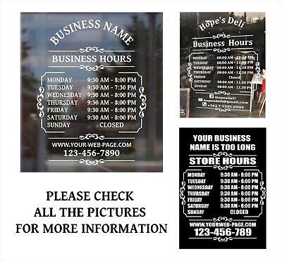 Custom Business Store Hours Sign Vinyl Decal Sticker 12 Wide Door Window.