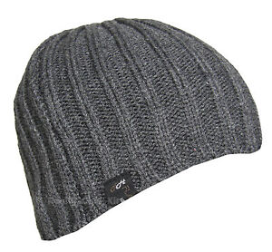 Mens Boys Ribbed Knitted Beanie Hat Acrylic blue brown black oatmeal grey