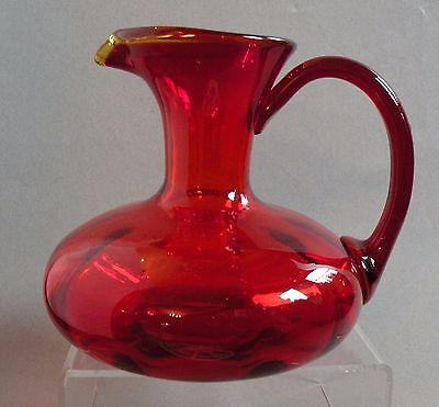 "L572  ART GLASS DEEP RED TO AMBER 5"" BLOWN GLASS EWER JUG MIDCENTURY"