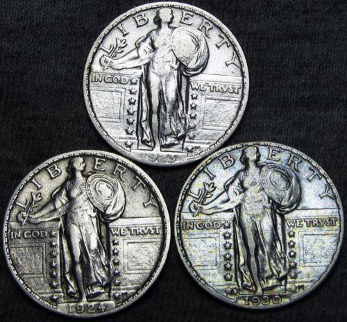 1923 +1924 +1930-S Standing Liberty Quarter Dollars ---- NICE LOT ---- #B662