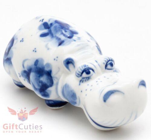 Hippopotamus Gzhel porcelain figurine hippo handmade