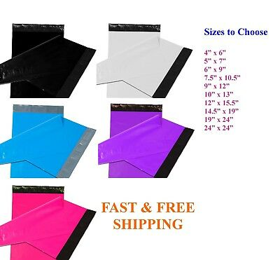 50-1000 Poly Mailers Shipping Envelopes Self Sealing Color Mailing Bags Plastic
