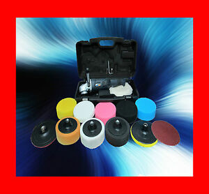 PLATINUM DELUXE CAR POLISHER BUFFER BACKING PLATE PRO WITH 12 HEADS SPONGES