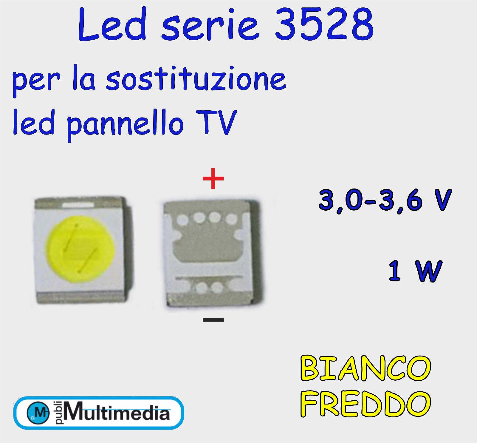 10 Led 3528 per ricambio retroilluminazione TV 3,05-3,65V  1W