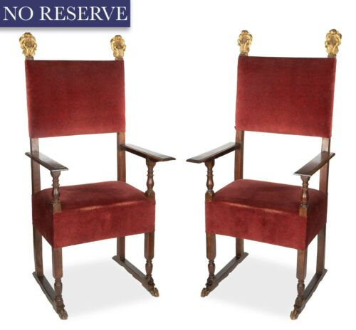 Antique Throne Chairs, Italian Gilt and Carved Wood, Red, A Pair, 1700