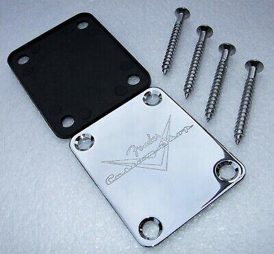 Guitar Neck Plate Stratocaster / Telecaster Chrome Custom Shop Logo with screws