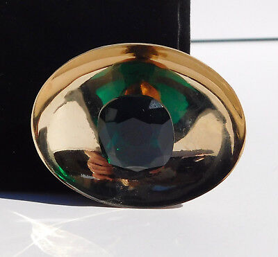 Mod Vogue Brooch Concave Oval Faceted Emerald Green Glass Flying Saucer