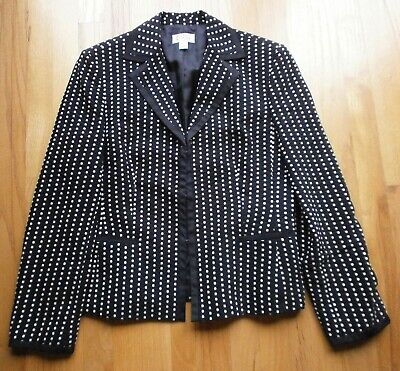 - TALBOTS Black/Cream Polka Dot Suit Jacket Fully Lined Size 10 Excellent