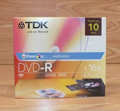 Genuine TDK (1-16X) 4.7GB Pack of 10 Blank White Discs Life on Record DVD-R for sale  Shipping to India