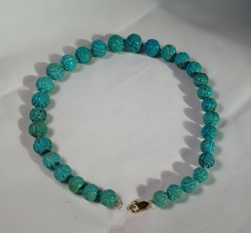 CHINESE CARVED REAL TURQUOISE SHOU BEAD STRAND NECKLACE 14K GOLD CLASP VINTAGE