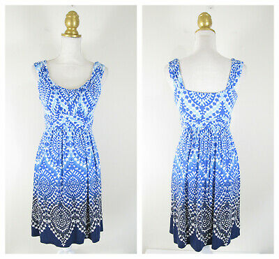 - Style & Co. Blue Printed Ombre Empire Fit Flare Dress Size XS Rayon